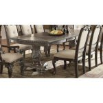 Washed Gray Ornate Double Pedestal Dining Table – Kiera Collection