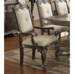 Washed Gray and Beige Upholstered Arm Chair – Kiera Collection