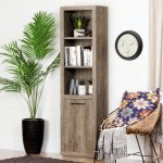 Weathered Oak 3 Shelf Bookcase with Door – Kanji