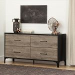 Weathered Oak 4-Drawer Double Dresser – Valet