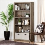 Weathered Oak 5 Shelf Bookcase – Kanji