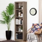 Weathered Oak 5 Shelf Narrow Bookcase – Kanji