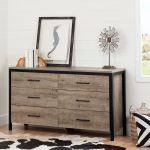 Weathered Oak 6-Drawer Double Dresser – Munich