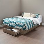 Weathered Oak Full-Queen Size Platform Bed with Drawer (54/60.