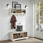 White 2 Piece Entryway Bench and Shelf Set – Brennan