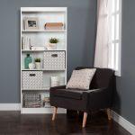 White 5-Shelf Bookcase with 2 Storage Bins – Axess