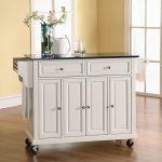 White Black Granite Top Kitchen Cart