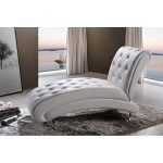 White Button Tufted Chaise Lounge