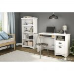 White Computer Desk with Keyboard Tray – Gascony
