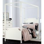 White Contemporary Twin Canopy Bed – Tinley Park