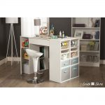 White Counter Height Craft Table with Storage – Crea