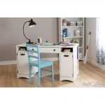 White Craft Table with Storage – Artwork