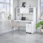 White Credenza Desk with Hutch and File Cabinet – Echo