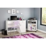 White Desk with Keyboard Tray and Printer Stand – Axess