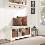 White Entryway Storage Bench – Brennan
