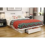 White Full/Queen Platform Bed and Headboard Set – Holland