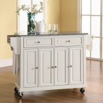 White Granite Top Kitchen Cart