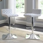 White Leather Adjustable Bar Stool (Set of 2)