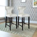 White Leather Transitional Bar Stool (Set of 2)