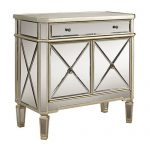 White Mirrored 2 Door and 1 Drawer Console