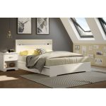 White Queen Platform Bed with 2 Drawers (60 Inch) – Basic