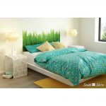 White Queen Platform Bed with Grass Decal Headboard (60 Inch) .