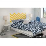 White Queen Storage Platform Bed with Yellow Decal Headboard (60.