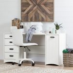 White Sewing Craft Table with Storage – Artwork