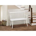 White Spindle Back Bench with Armrests