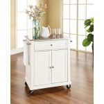 White Stainless Steel Top Portable Kitchen Cart
