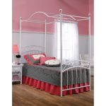 White Traditional Twin Metal Canopy Bed – Emily