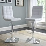 White Tufted Adjustable Bar Stool (Set of 2)