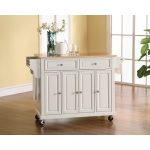 White Wood Top Kitchen Cart