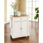 White Wood Top Portable Kitchen Cart