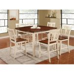 White and Cherry 5 Piece Counter Height Dining Set – Transitional.
