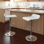White and Chrome Curved Adjustable Bar Stool (Set of 2)
