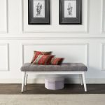 White and Gray Upholstered Bench – Landon