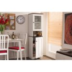 White and Wenge Buffet and Hutch Kitchen Cabinet