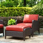 Wicker Patio Chair and Ottoman in Sangria – Kiawah