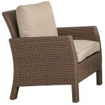 Wicker Patio Chair with Linen Cushion – Arcadia
