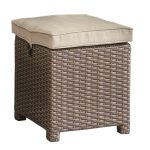Wicker and Linen Patio Ottoman – Arcadia