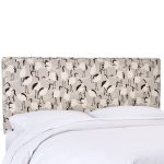Winter Crane Linen Upholstered King Size Headboard