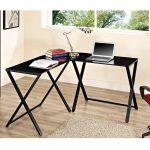 X Frame Black Glass/Black L-Shaped Computer Desk