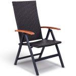 Patio Adjustable Aluminum Folding Back Rattan Recliner Chair