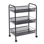 Black/Gray 3 Tier Storage Rack Trolley Cart