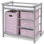 2 Colors Infant Diaper Storage Changing Table w/ 3 Baskets