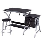 Black/Pink Adjustable Drafting Table Drawing Desk w/Stool