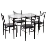 5 pcs Dining Glass Top Table & 4 Upholstered Chairs