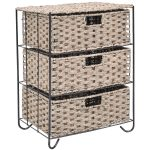 3 Rattan Wicker Baskets Tower Rack Organizer Shelf