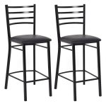 Set of 2 Black Bar Stools Dining Chairs